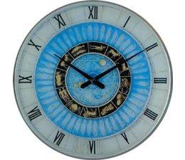 Hettich Uhren Sehr exclusive verarbeitete Wohn Design Uhr Sternzeichen 60cm Glas mit Quarzwerk Nr.4408