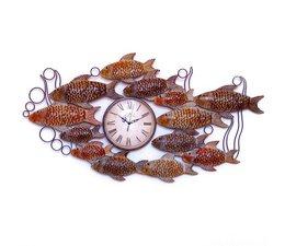 Hettich Uhren Wohn Design Uhr Fischschwarm  Neu aus Schmiedeeisen mit Quarzwerk   Aufwendig gearbeitete Wanduhr Fischschwarm im klassichen Stil   mit Quarzwerk Größe : 101cm x 51 cm