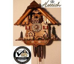 Hettich Uhren Orginal Schwarzwälder Kuckuckuhr mit 1 Tage Musik Rechenschlagwerk und beweglichem Holzhacker-Tanzfiguren und Mühlrad 34cm hoch und 21cm breit