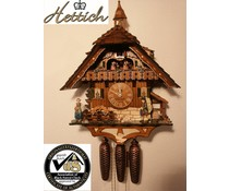 Hettich Uhren Model 2012 Black Forest farm in the Black Forest Original Handmade Cuckoo Clock Black forest house style 47cm high with moving clock peddler-dance figures and mill wheel