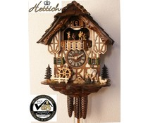 Hettich Uhren Original Black Forest cuckoo clock with 1 days music movement with wood shingle roof and moving wood chopper and mill wheel-dance figures 34cm high and 27cm wide