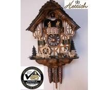Hettich Uhren Originele Zwarte Woud koekoeksklok met 1 dagen muziek beweging met hout dakspaandak en bewegen bierdrinkers en molenrad dans cijfers 34cm hoog en 27cm breed