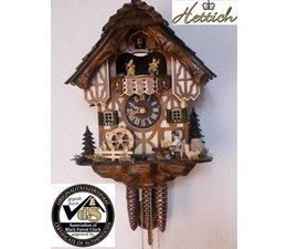 Hettich Uhren Originele Zwarte Woud koekoeksklok met 1 dagen muziek beweging met hout dakspaandak en bewegen bierdrinkers en molenrad-dance cijfers 34cm hoog en 27cm breed