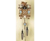 Trenkle Uhren Kuckucksuhr 22cm mit Edelweiss-Enzian Blumen handbemalt mit Quarzwerk und Lichtsensor