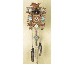 Trenkle Uhren Wunderschöne  tiefgeschnitzte Kuckucksuhr 22cm mit Edelweiss-Enzian handbemalt im Schwarzwald hergestellt mit Quarz-Laufwerk und Kuckuckruf mit Lichtsensor unter dem Zifferblatt ,sobald es dunkel wird schaltet der Kuckuckruf ab