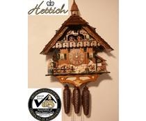 Hettich Uhren Modelo 2012 Schwarzwaldhof Orginal en el reloj de cuco hecho a mano de la Selva Negra Casa de la Selva Negra, con un estilo de 47 cm de altura, figuras de baile de madera astilladora y rueda de molino