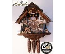 Hettich Uhren Orginal Schwarzwälder Kuckucksuhr mit 8 Tage Musik-Tänzer- Rechenschlagwerk mit beweglichem Holzhacker -Tanzfiguren und Mühlrad 40 cm hoch