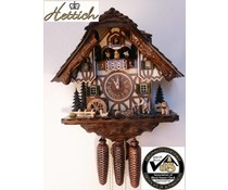 Hettich Uhren Original Black Forest cuckoo clock with 8 days music-dancer-raking movement with moving wood chipper-dance figures and mill wheel 40 cm high