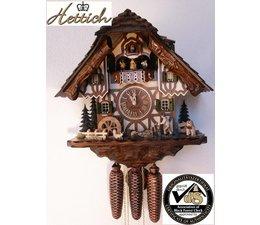 Hettich Uhren Oorspronkelijk in het Zwarte Woud handgemaakte koekoeksklok Zwarte Woud huisstijl 40cm hoog met bewegende houtversnipperaars dansfiguren en molenrad