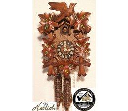 Hettich Uhren Sehr schöne handgefertigte Kuckucksuhr 23 cm hoch und handbemalte Blumen