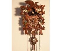 Hettich Uhren Kuckucksuhr 23cm mit Edelweiss-Enzian Blumen handbemalt mit Quarzwerk  und automatischer Nachtabschaltung mit   12 verschiedene Melodien