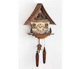 Trenkle Uhren Wunderschöne   Kuckucksuhr 35cm mit Holzschindeldach  im Schwarzwald hergestellt mit Quarz-Laufwerk und Kuckuckruf mit Lichtsensor unter dem Zifferblatt ,sobald es dunkel wird schaltet der Kuckuckruf ab