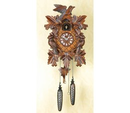 Trenkle Uhren Wonderful deep carved cuckoo clock 35cm made in the Black Forest with quartz drive and cuckoo call with light sensor under the dial, as soon as it gets dark the cuckoo call switches off