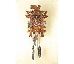 Trenkle Uhren Wunderschöne  tiefgeschnitzte Kuckucksuhr 35cm mit Edelweiss-Enzian handbemalt im Schwarzwald hergestellt mit Quarz-Laufwerk und Kuckuckruf mit Lichtsensor unter dem Zifferblatt ,sobald es dunkel wird schaltet der Kuckuckruf ab