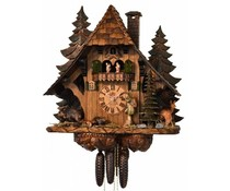 Hettich Uhren Original Black Forest Cuckoo Clock with 8 day music dancer-movement with solid wood cabinet and handmade figures 64cm high and 60cm wide