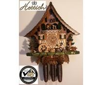 Hettich Uhren Orginal Schwarzwälder Kuckucksuhr mit 8 Tage Musik-Tänzer- Rechenschlagwerk mit beweglichem Biertrinker -Tanzfiguren und Mühlrad 47 cm hoch und 42cm breit