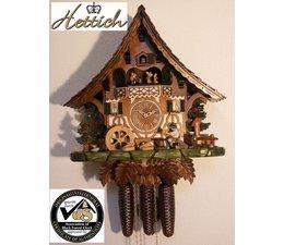 Hettich Uhren Orginal im Schwarzwald handgefertigte Kuckucksuhr Schwarzwaldhausstil 47cm hoch mit beweglichem Biertrinker -Tanzfiguren und Mühlrad