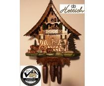 Hettich Uhren Orginal Schwarzwälder Kuckucksuhr mit 8 Tage Musik-Tänzer- Rechenschlagwerk mit beweglichen Tanzfiguren und Mühlrad 47 cm hoch und 42cm breit