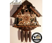 Hettich Uhren Original Black Forest Cuckoo Clock with 8 day music dancer movement with movable double breasted merganser and dancing figurines as well as the water wheel 40 cm high