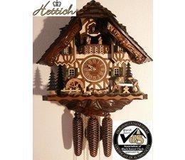 Hettich Uhren Mano original elaborado en la casa Negro Bosque Negro Reloj de cuco Bosque con estilo en movimiento de 40 cm de alto Sawyer -Tanzfiguren y molino de rueda doble