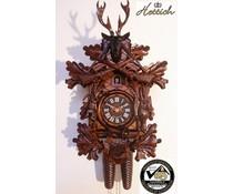 Hettich Uhren Orginal Schwarzwälder Kuckucksuhr mit 8 Tage Rechenschlagwerk 40cm Jagdstück-Motiv