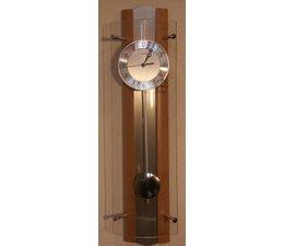 AMS Uhren Wandklok klok slingeruurwerk ontwerpen New AMS F5258/18 beuken glas aluminium