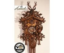 Hettich Uhren Orginal Schwarzwälder Kuckucksuhr mit Jagdstück-Motiv mit 8 Tage Rechenschlagwerk 65cm hoch