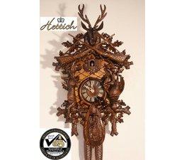 Hettich Uhren Orginal im Schwarzwald handgefertigte Kuckucksuhr 65cm hoch mit hangefertigter Jagdstück-Motiv Schnitzerei