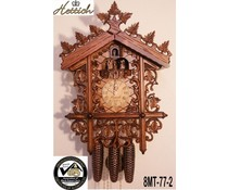 Hettich Uhren Orginal SchwarzwälderBahnhäusle Kuckucksuhr mit 8 Tage Musik-Tänzer- Rechenschlagwerk mit sehr hochwertig verarbeitete Schnitzerei 52cm hoch und 36cm breit - Copy - Copy