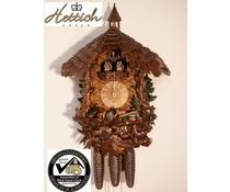 Hettich Uhren Originele Zwarte Woud koekoeksklok met 8-daagse muziek danser-beweging met een zeer hoge kwaliteit verwerkt houtsnijwerk 47cm hoog en 40cm breed - Copy