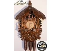 Hettich Uhren Original Black Forest Cuckoo Clock with 8 day music dancer-movement with very high grade processed carvings 47cm high and 40cm wide - Copy