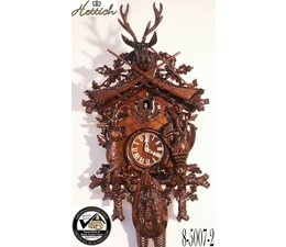 Hettich Uhren Original Black Forest Cuckoo Clock hand crafted 95cm high with hangefertigter Hunting motif carving - Copy - Copy