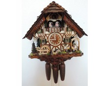 Hettich Uhren Original Black Forest Cuckoo Clock with 8 day music dancer-movement with moving beer drinkers and dancers as well as the water wheel 40 cm high