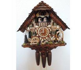 Hettich Uhren Orginal im Schwarzwald handgefertigte Kuckucksuhr im Schwarzwaldhausstil 40cm hoch mit beweglichen Biertrinker -Tanzfiguren und Mühlrad