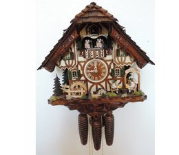 Hettich Uhren Original hand-crafted in the Black Forest cuckoo clock in the Black Forest-style 40cm high with moving beer drinkers and mill wheel-dance figures