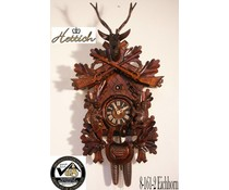 Hettich Uhren Original Black Forest Cuckoo Clock with Hunting-Eichhorn motif with 8 day rack strike movement 65cm high - Copy