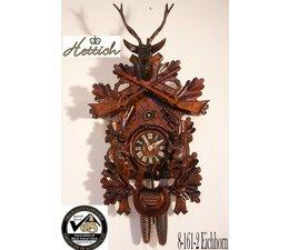 Hettich Uhren Orginal im Schwarzwald handgefertigte Kuckucksuhr 65cm hoch mit hangefertigter Jagdstück-Motiv Schnitzerei - Copy