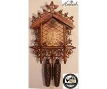 Hettich Uhren Original Black Forest Cuckoo Clock Station House with 8 day movement with very high-quality finish carving 52cm high and 36cm wide - Copy