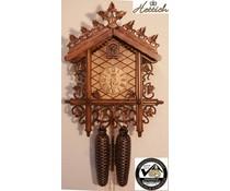 Hettich Uhren Originele Zwarte Woud Cuckoo Clock Station House met 8 daags uurwerk met een zeer hoogwaardige afwerking carving 52cm hoog en 36cm breed - Copy