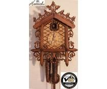 Hettich Uhren Orginal SchwarzwälderBahnhäusle Kuckucksuhr mit 1 Tage Rechenschlagwerk mit sehr hochwertig verarbeitete Schnitzerei 52cm hoch und 36cm breit - Copy - Copy