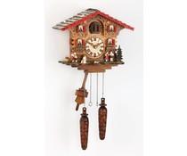 Trenkle Uhren Reloj cucú hecho a mano 25cm techo de tejas de madera con movimiento de cuarzo y sensor de luz - Copy