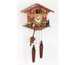 Trenkle Uhren Wunderschöne Kuckucksuhr 25cm mit Holzschindeldach im Schwarzwald hergestellt mit Quarz-Laufwerk und Kuckuckruf mit Lichtsensor unter dem Zifferblatt ,sobald es dunkel wird schaltet der Kuckuckruf ab - Copy