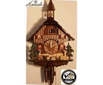 Hettich Uhren Orginal Schwarzwälder Kuckucksuhr mit 1Tag Rechenschlagwerk Biertrinker 27cm hoch und 23 cm breit - Copy