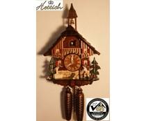Hettich Uhren Originele Zwarte Woud koekoeksklok 8-daagse rack stakingsbeweging 27cm hoog en 23cm breed, met bewegende hout chopper