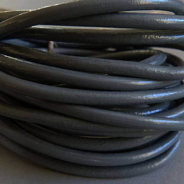 Lederband grau, rund - 4 mm