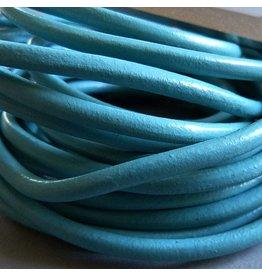 Lederband türkis, rund - 4 mm