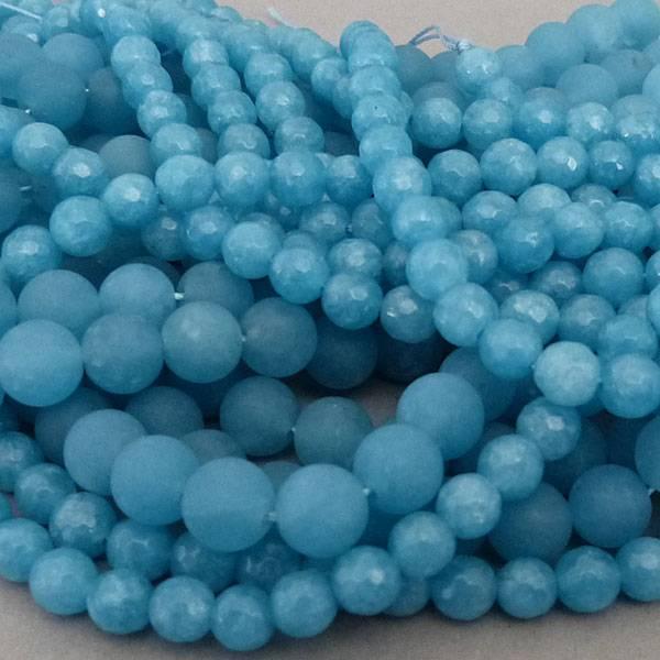 Blau Quarz Perle  8,5 mm - matt