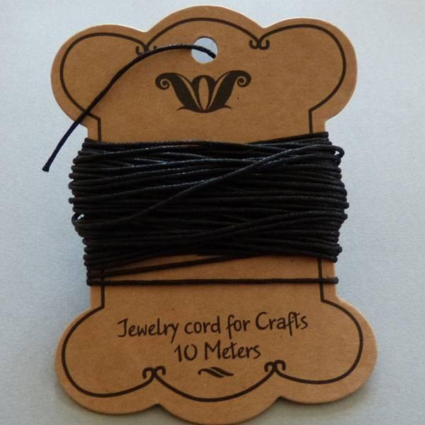 10 Meter Baumwollband - 1 mm schwarz