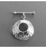 Knebel Verschluss Silber gehämmert 30 mm