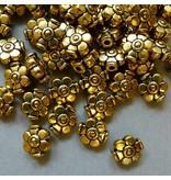 Metall Blumen Perle - 9 mm - goldfarben